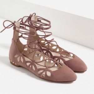 Zara Lace-Up Suede Cutout Ballet Flats NWT